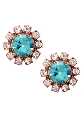 Crystal Posy Studs Earrings Turquoise