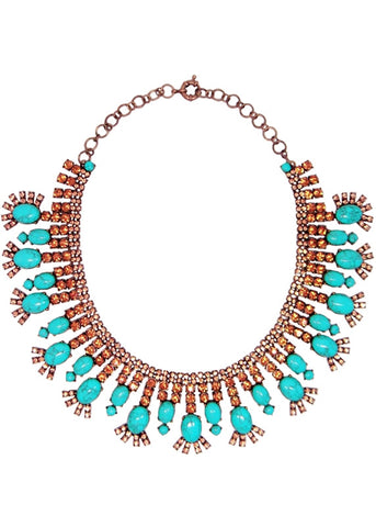 Turquoise Golden Crystal Collar Necklace