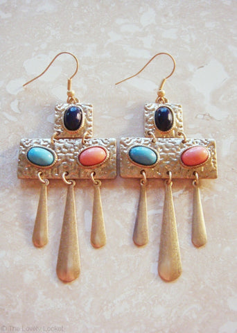 Cleopatra Princess Cabochon Earrings | Gold Egyptian-Inspired Drop Earrings