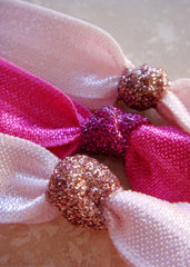 GlitzSugar™ Peppermint Pink Set - 6 Elastic No Snag Hair Ties