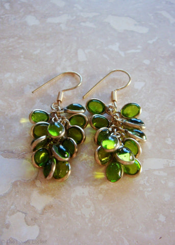 Golden Cabochon Earrings - Peridot