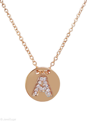 Pave Crystal Initial Necklace - 14k Gold Filled