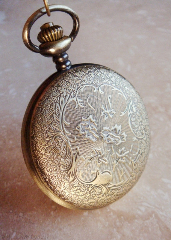 Equestrian Pocket Watch Pendant - Antique Gold