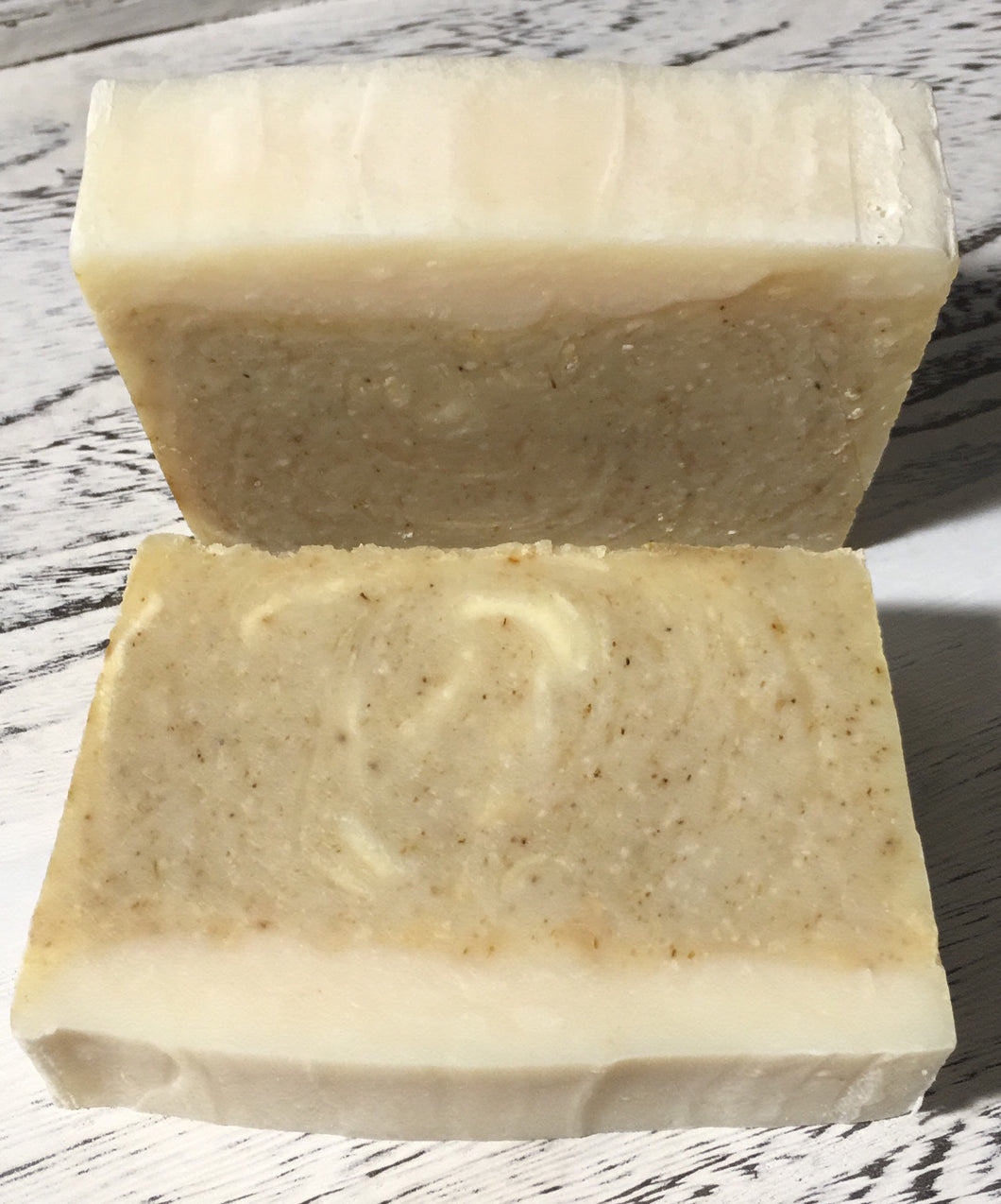 This Lemon Chamomile Vegan Handcrafted Soap is so soothing and especially designed for sensitive skin because of the colloidal oatmeal that it contains. The soft scent of lemon essential oil gives it a bright ,sweet & refreshing scent, while coconut, olive & sweet almond oils give it that luxurious lather.