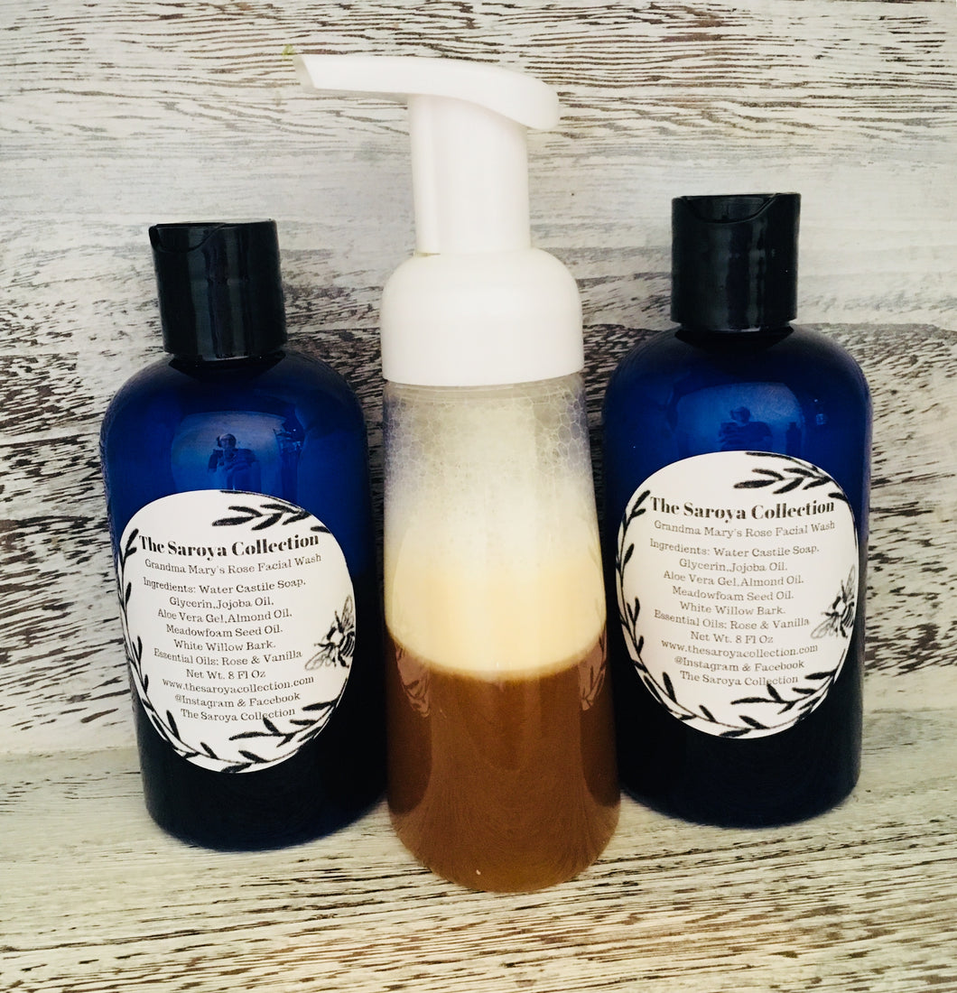 Grandma Mary's Rose Facial Wash is an amazing all natural, vegan facial wash. Rose has been used for centuries for its medicinal properties. The scent of fresh roses can be so sooting, imagine what it can do for the skin. It has been said to have rejuvenating qualities, hydrates the skin and contains natural antioxidants.