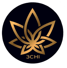 3CHI badge-logo. The background of the badge is black and the logo is in a gold color.