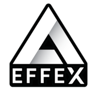 """The Delta Effex Logo consists of a white, shaded triangle above the text """"EFFEX""""."""