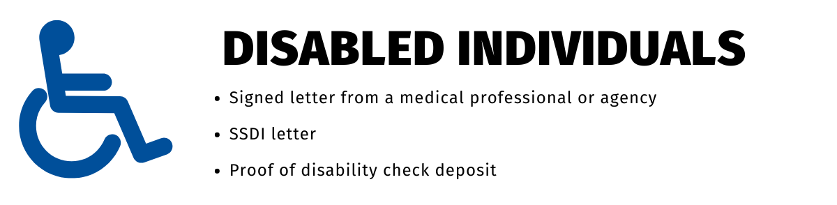 """The disabled icon is to the left of the text. """"Disabled Individuals"""" is above the bullet points: """"Signed letter from a medical professional or agency"""", """"SSDI letter"""", and """"Proof of disability check deposit""""."""