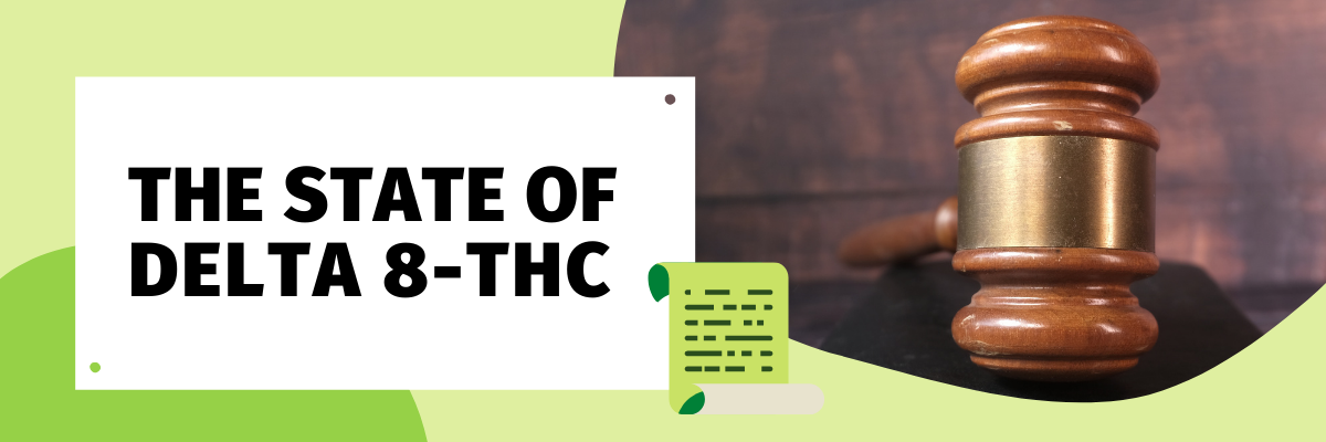 """Bold, capitalized text reads, """"The State of Delta 8-THC"""". To the right is a graphic representation of a legal document. To the right of that is a picture of a wooden gavel."""