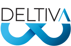 """""""Deltiva"""" is written in black capital letters. The """"A"""" is blue and looks like an upside down """"V"""". Below is the bottom 3/4 of a blue infinity sign."""