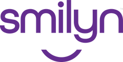 """""""Smilyn"""" is written in purple, lowercase letters. Centered below it is a curved line that represents a smile."""