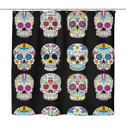 Image of Dia De Los Muertos Sugar Skull Shower Curtain - 70x73 | Black - Shower Curtains | 3