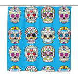 Dia De Los Muertos Sugar Skull Shower Curtain - 70x73 | Blue - Shower Curtains | 5