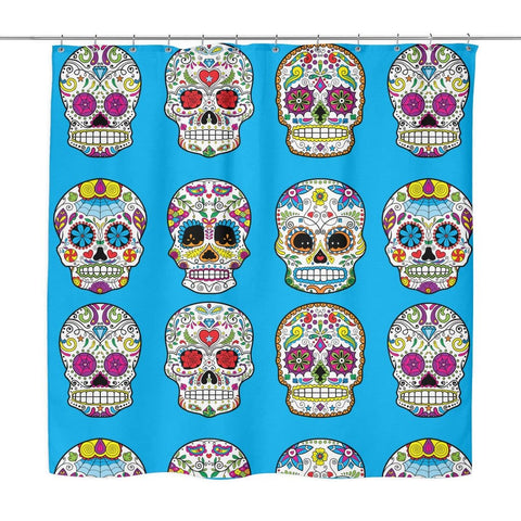 Image of Dia De Los Muertos Sugar Skull Shower Curtain - 70x73 | Blue - Shower Curtains | 5