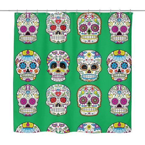 Image of Dia De Los Muertos Sugar Skull Shower Curtain - 70x73 | Green - Shower Curtains | 4