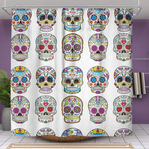 Image of Dia De Los Muertos Sugar Skull Shower Curtain - 70x73 | Shower Curtains | 1