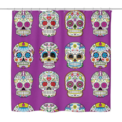 Image of Dia De Los Muertos Sugar Skull Shower Curtain - 70x73 | Purple - Shower Curtains | 6
