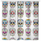 Dia De Los Muertos Sugar Skull Shower Curtain - 70x73 | White - Shower Curtains | 2