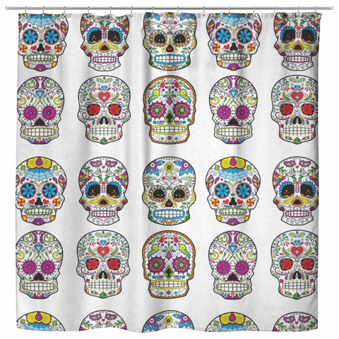 Image of Dia De Los Muertos Sugar Skull Shower Curtain - 70x73 | White - Shower Curtains | 2
