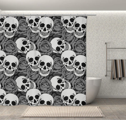 Grey Rose & Skull Shower Curtains 70x73 | Black & Grey - Shower Curtains | 1