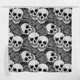 Grey Rose & Skull Shower Curtains 70x73 | Black & Grey - Shower Curtains | 2
