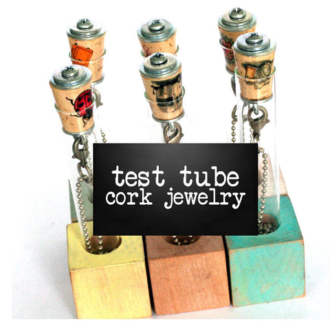 Cork Jewelry in Test Tubes