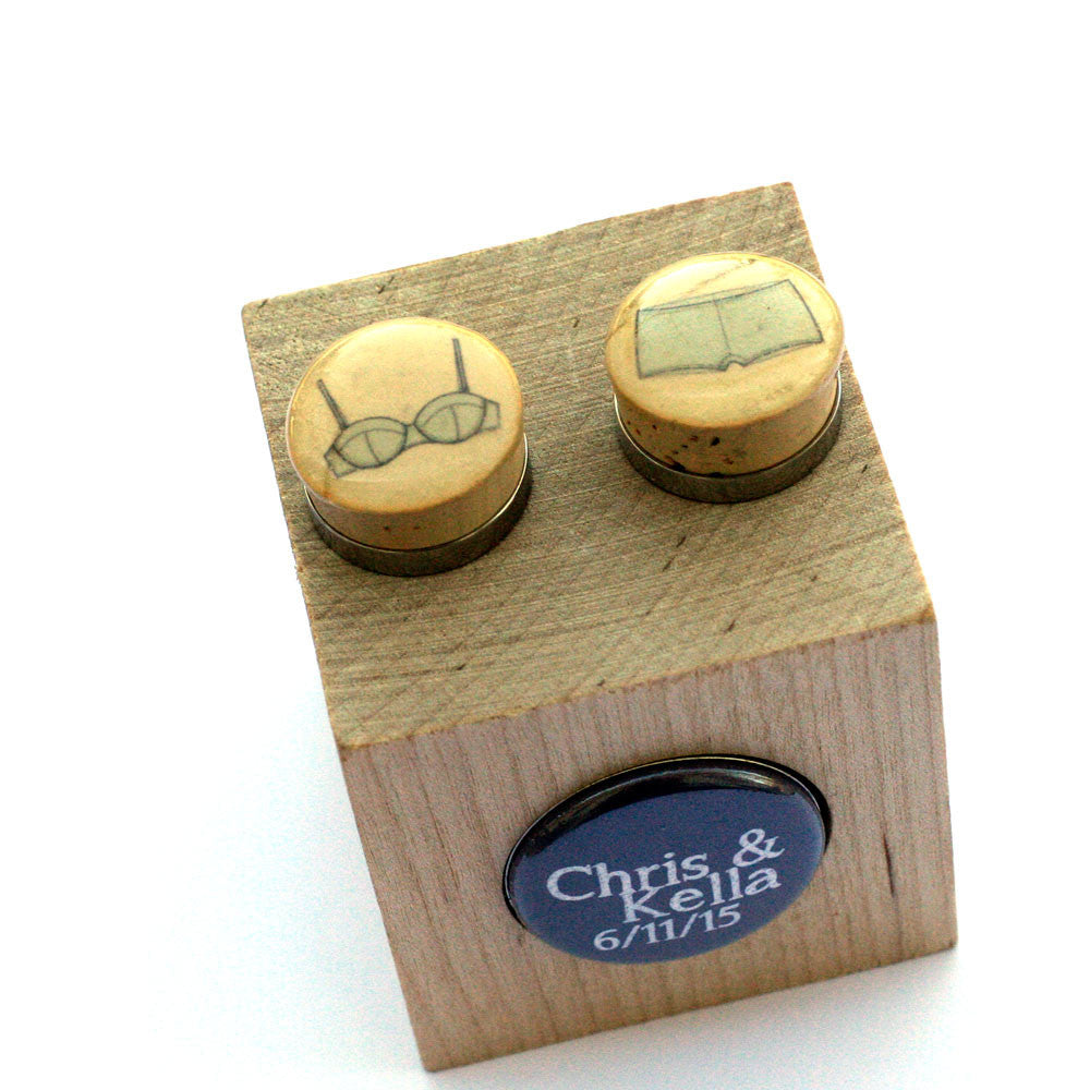 Bra and Panties Cufflinks - Recycled Cork