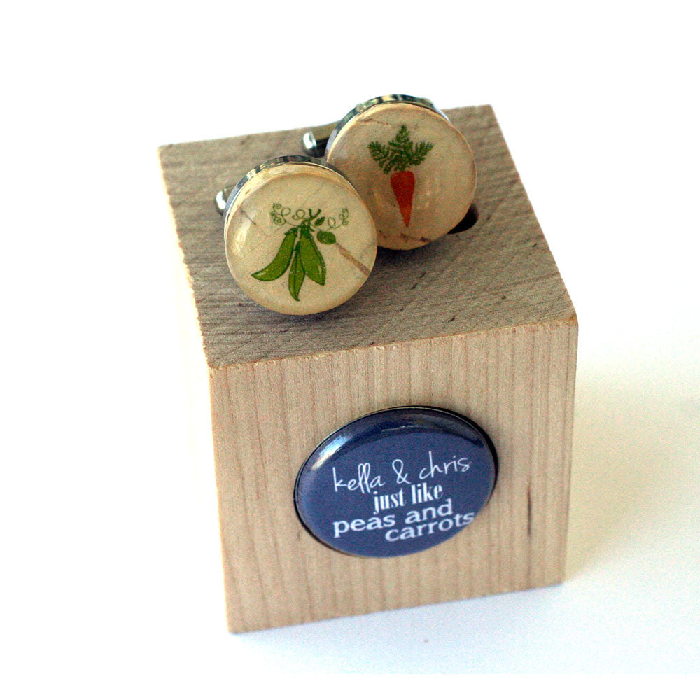 Peas and Carrots Wedding Cufflinks - Recycled Cork