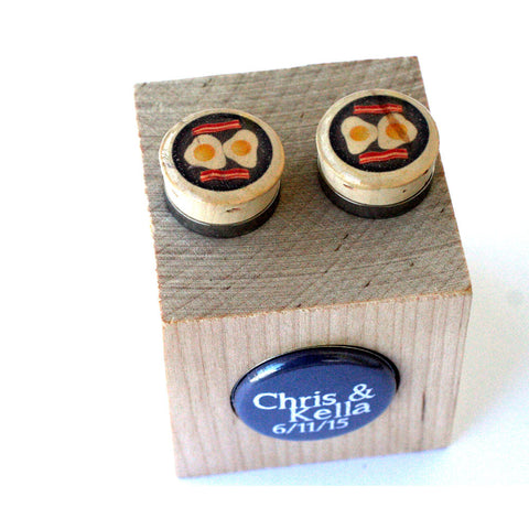 Bacon and Eggs Cufflinks - Recycled Cork