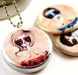 Zombie Locket - Magnetic and Recycled