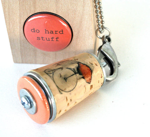 Fish on Bicycle Inspiration Necklace | Cork in Test Tube and Wood Cube