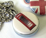 UK London Locket Necklace -  Flag, Phonebooth - Magnetic Necklace - Recycled by Polarity