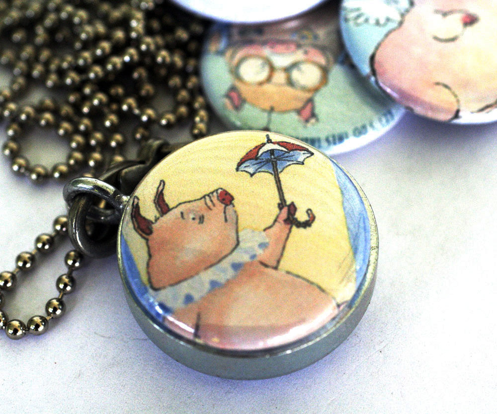 Flying Pigs Locket Necklace