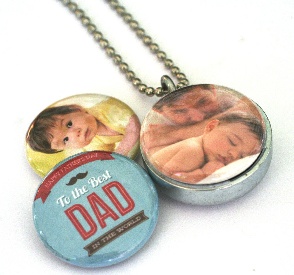 Custom Father Locket Necklace -  Personalized With Kids Photos