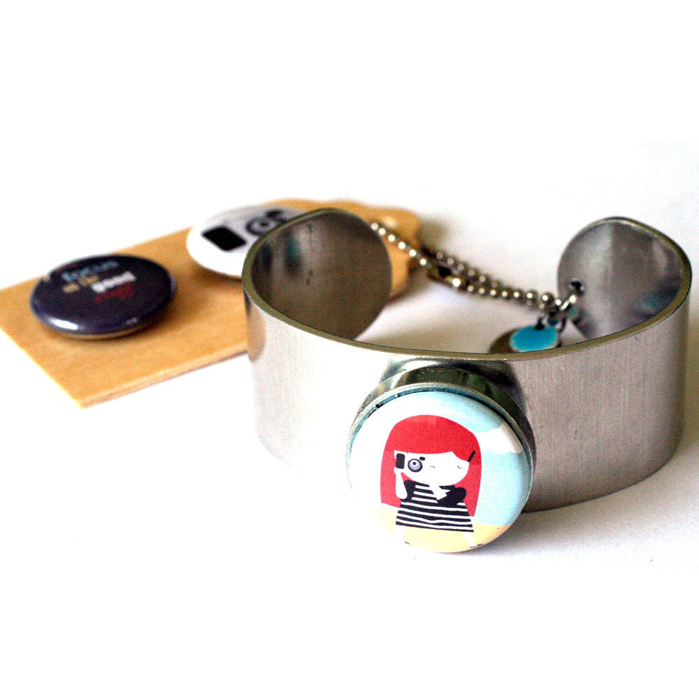 Photographer Magnetic Metal Cuff Bracelet