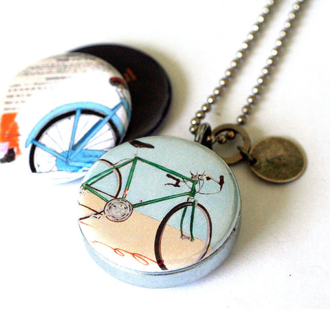 Bicycle Locket Necklace