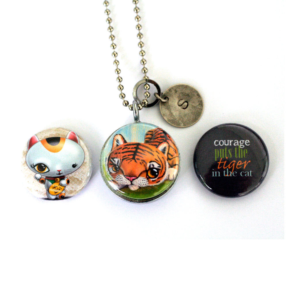 Courage Puts the Tiger in the Cat | Magnetic Locket Necklace