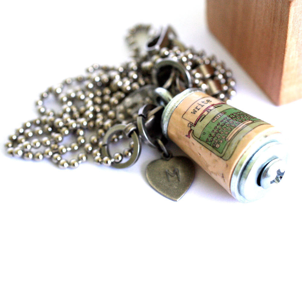 Typewriter Necklace - Cork Jewelry in Test Tube and Wood Block - WRITE SOMETHING by Uncorked