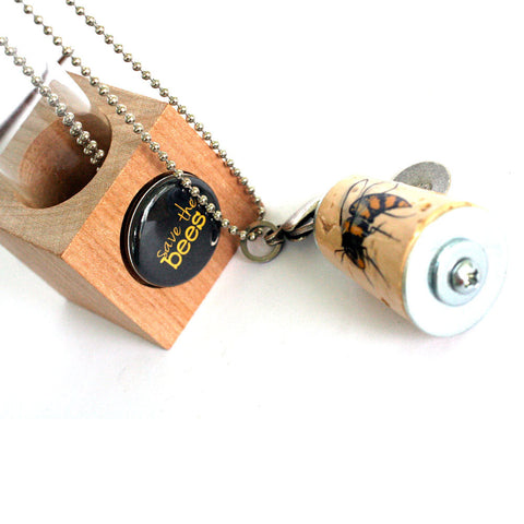 Save the BEES Necklace | Cork in Test Tube and Wood Cube