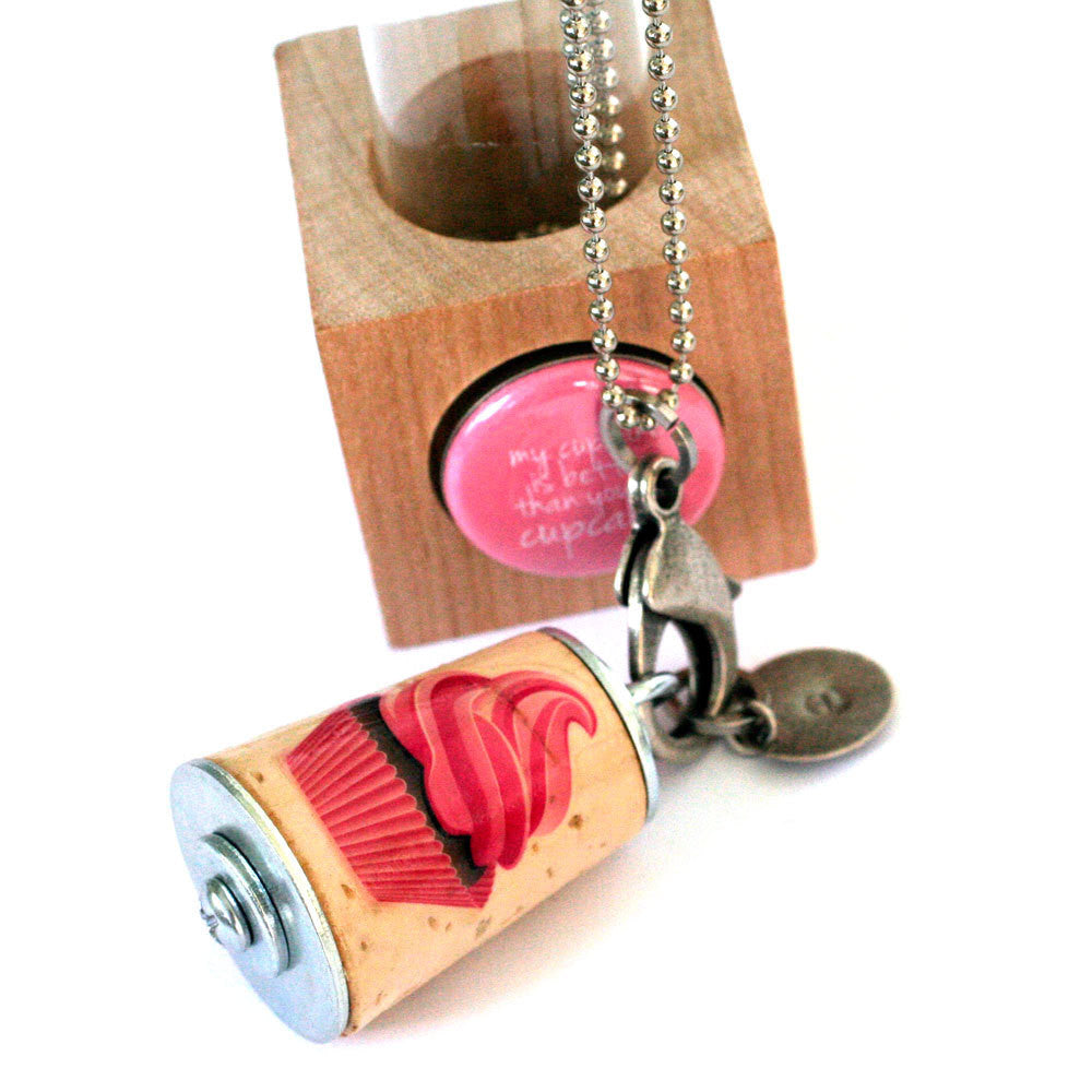 Cupcake Necklace | Cork in Test Tube and Wood Cube