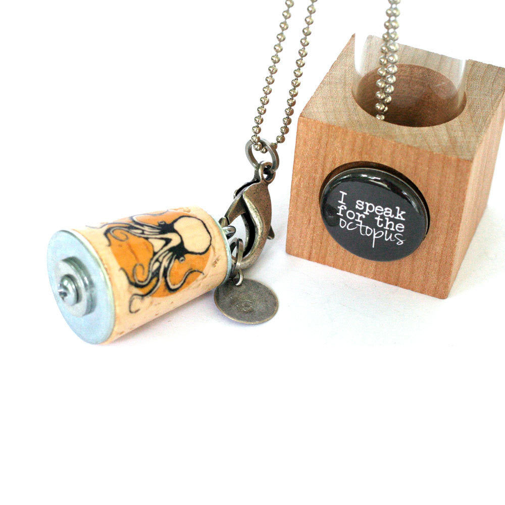 Octopus Necklace | Cork in Test Tube and Wood Cube
