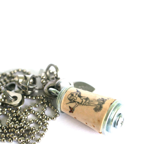 Fairy Necklace | Recycled Cork in Test Tube and Wood Cube