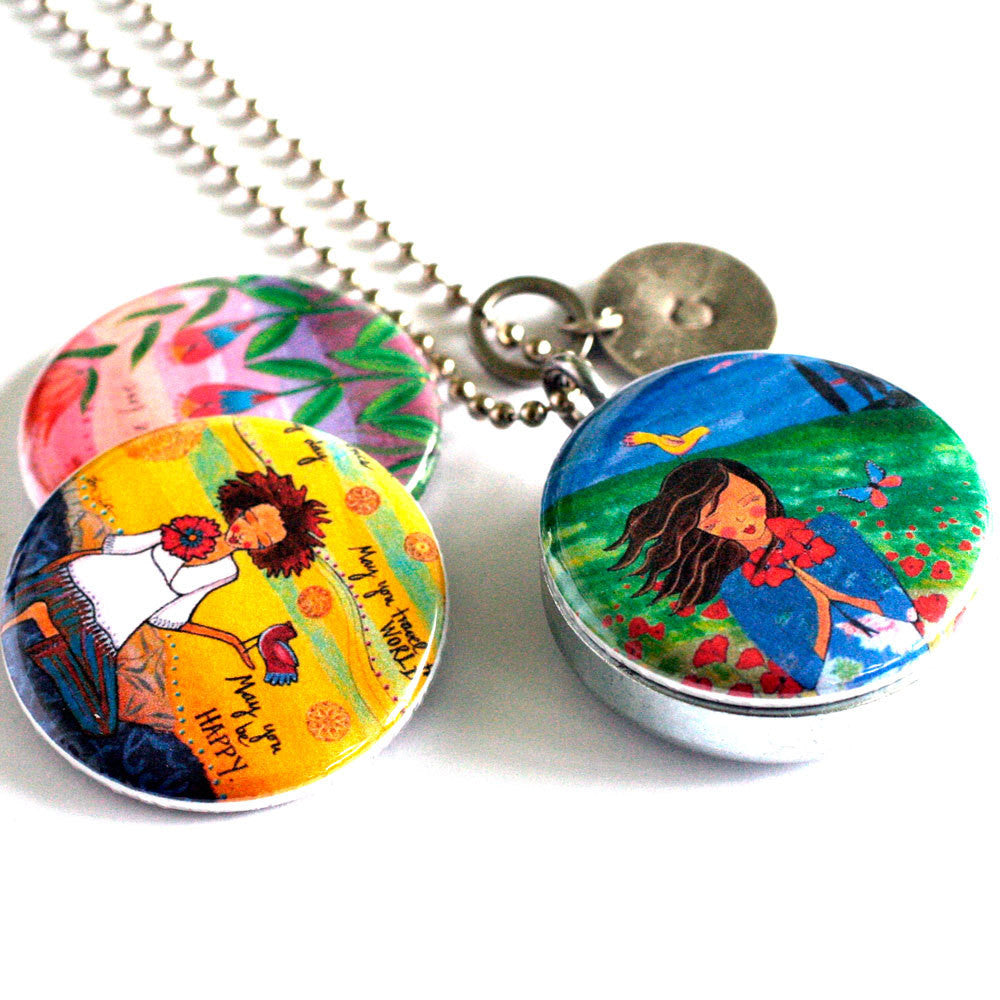 Travel Locket - Mirror Locket Necklace - Yoga Locket - Meditation Locket