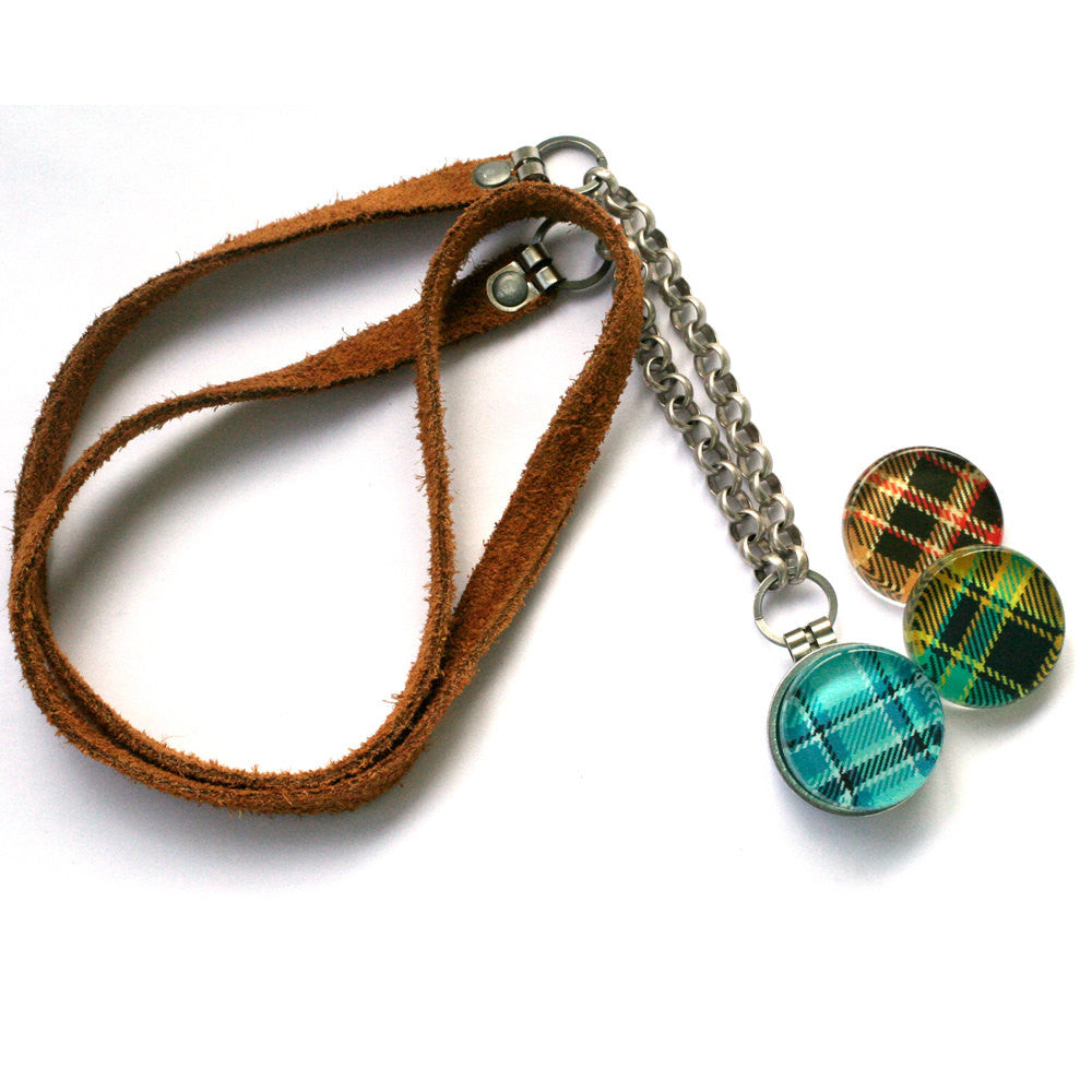 Plaid Magnetic Locket Necklace