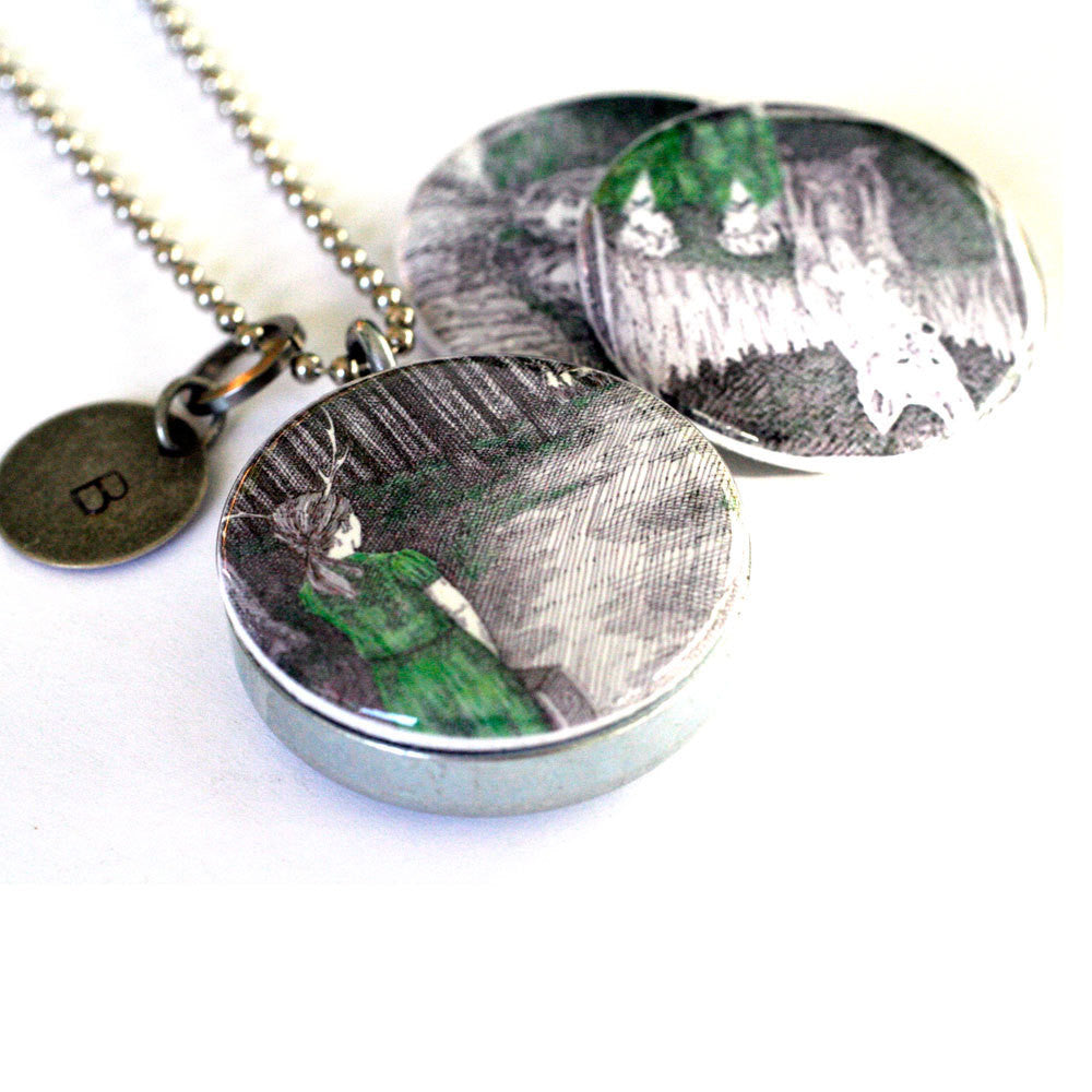 Woodland Pen and Ink Locket Necklace