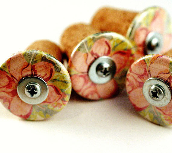 Cork Pushpins | Recycled, Pink Flowers