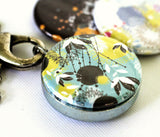turquoise abstract magnetic locket necklace - interchangeable and recycled