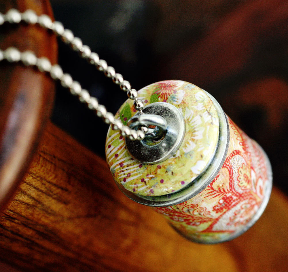 Floral Paisley Recycled Wine Cork Necklace