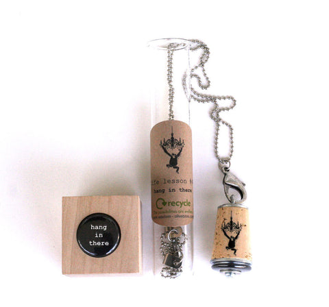 Hang in There Monkey Necklace | Cork in Test Tube and Wood Cube