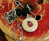 Ladybug Wine Cork Necklace | Recycled Steel